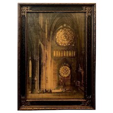 """Print of Rose Window of Rheims Cathedral at Norte Dame in Frame under Glass - Large 17""""W x 23.5""""T x 1""""D"""