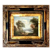 """Oil on Canvas Painting of Lake and Trees - 18""""W x 16""""H x 2""""D"""