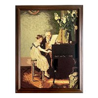 "Framed Needlepoint with Petit-point of Piano Lesson - Large 21.75""W x 28""H x 2""D"
