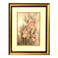 "Signed Artist Floral Print circa 1980 - 13""W x 16""T x 1""D"