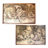 "Pair of Large Antique French Tapestries by d'Apres F. Vinea - Each piece ~63W x 41.25H x 1.5""D"