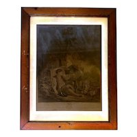 "Print of French Engraving ""L'obeissance Recompensee"" by Boucher and Gaillard in Wooden Frame - Large 28x21"