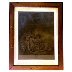 """Print of French Engraving """"L'obeissance Recompensee"""" by Boucher and Gaillard in Wooden Frame - Large 28x21"""