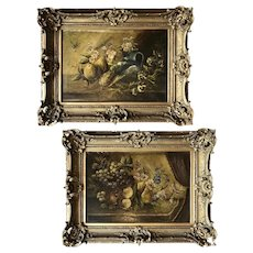 Pair of French Antique Oil on Canvas Paintings by E. Ridard - Each 29.25W x 22.75T x 3.5D