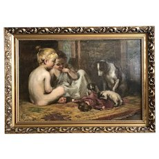 Oil on Canvas Painting of Girls Playing with their Dogs and Doll in Gold Frame - Large 43W x 30H x 2D