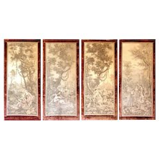 Set of 4 Antique French Tapestries on Frames with Ruby-red Velvet Borders - Each 30W x 64H x 1D