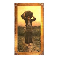 Print of Woman in Field on Solid Backer Board with Gold Accents - Large 36.5H x 20.5W x 0.5D