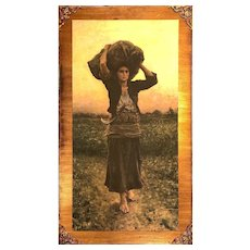 Print of Shepherd's Star by Jules Breton on Solid Backer Board with Gold Accents - Large 36.5H x 20.5W x 0.5D