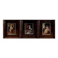 Trio of Vintage Prints of Victorian-style Ladies in Gold Frames - Each 18.25H x 15.25W x 1D