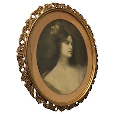 Oval Print of Victorian-style Woman in Beautiful Gold Frame - 14H x 12W x 0.75D