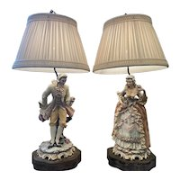 Pair of Porcelain Lace Lamps Depicting A Gentleman and Lady in Elaborate Dress