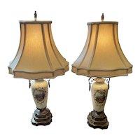 Pair of Delicate Vase Lamps Depicting Pastoral Scene