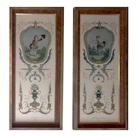 Pair of Neoclassical Framed Lithograph Prints - Large Each 36x15