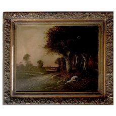 Antique French Oil Painting on Canvas with Beautiful Golden Frame - Large 36x42