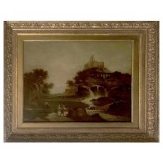 Antique French Oil on Canvas Painting of a Castle on a Hill - Large 35x40