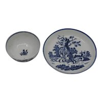 18th Century Liverpool blue tea bowl cup and saucer