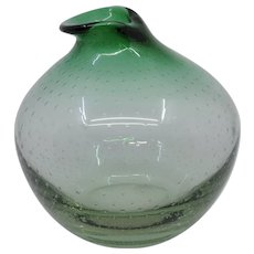 Carl Erickson Green controlled bubble vase