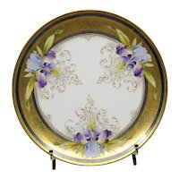 Early 20th century Haviland France Limoges Decorative Iris Plate