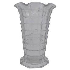 "Art Deco Indiana Glass Tea Room Clear 11"" Ruffled Crimped Vase"
