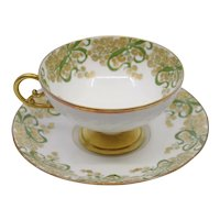 Jean Pouyat Limoges JPL gold floral tea cup and saucer