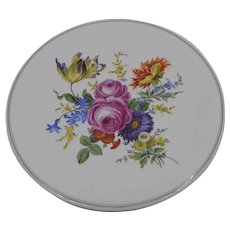19th Century Meissen wall cabinet plate decor flower bouquet