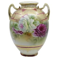 Hand painted Nippon moriage double handle floral vase