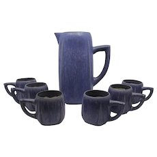 Fulper beverage set purple blue glaze pitcher with six mugs