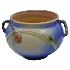 Roseville pottery blue pine cone jardiniere cabinet vase Model 632 - 4