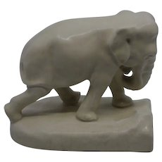 20th century Rookwood Pottery Ivory Glaze Elephant figurine bookend mold 2444D