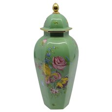 Early 20th century Royal Worcester green floral ginger jar