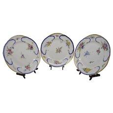 Three Authentic Late 18th century Feuille De Choux Sevres Porcelain Plates