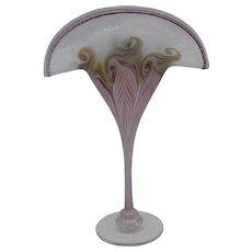 Vandermark Pink Art Glass Vase Fan Shaped Pulled Feather design