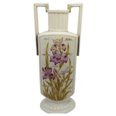 Porcelain double handled Iris floor vase made by Victoria Carlsbad in Austria
