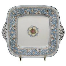Wedgwood Florentine Turquoise Square Handled Cake Plate