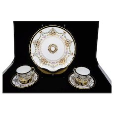 19th century Marie Antoinette Wedgwood porcelain dinner plate with two cups and saucers