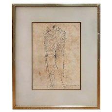 Joseph Glasco Standing Portrait Original Ink on Paper Drawing 1970