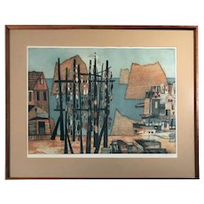 Rudolph Kugler Signed Limited Edition Color Etching on Copper Fishing Village Scene Listed Artist c1960s