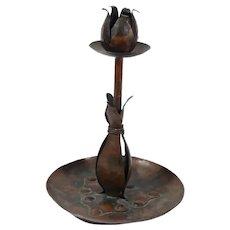 Arts & Crafts Hand Hammered Copper Candle Holder