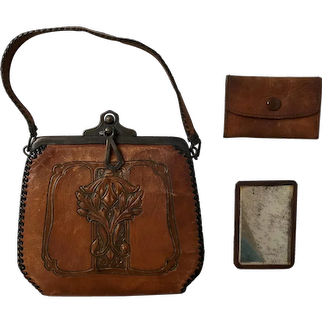 Hand Tooled Leather Arts & Crafts Hand Bag Purse with Mirror and Change Purse