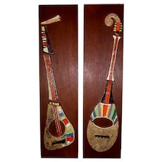 Harris Strong Pair Mid-Century Modern Ceramic Tile String Instrument Wall Panels