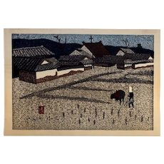 "Kiyoshi Saito Original Signed Woodblock Print ""Ploughing the Rice Field"" c. 1973"