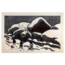 """Kiyoshi Saito Original Signed Woodblock Print Winter Scene """"Children of Aizu"""" c. 1962"""