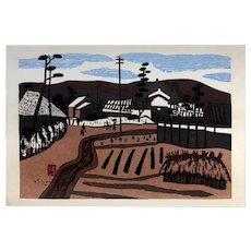 "Kiyoshi Saito Original Signed Woodblock Print ""Summer in Aizu"" c. 1960s"