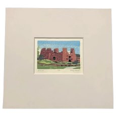 "Mary Sweet Japan Style Woodblock Print New Mexico ""Quarai"" Ltd. Ed. Signed"
