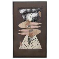 Chris Roberts-Antieau American Folk Art Textile Rabbits Signed 1986