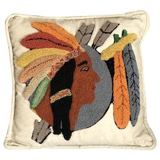 American Indian Native American Chief Vintage Textile Hooked Throw Pillow circa 1930s