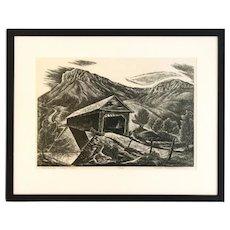 "Charles Frederick Surendorf Original Linocut ""Covered Bridge - O'Byrne's Ferry"" Listed Artist"