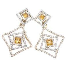 14k Two Tone Diamond Sapphire Earrings