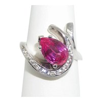 14k Pink and White CZ Ring