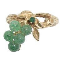 Unique 14k Emerald and Jade Ring